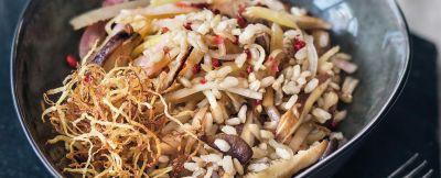 riso arrostito con rape e funghi shiitake ricetta