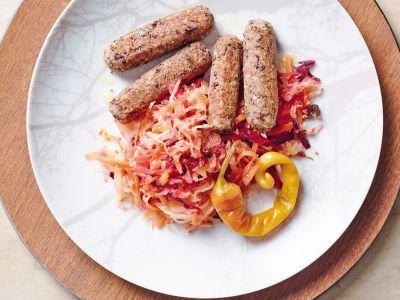 salsiccette di grano saraceno e fagioli con crauti ricetta