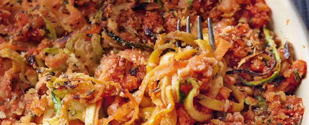 teglia di spaghetti di verdura al ragù di farro Sale&Pepe ricetta