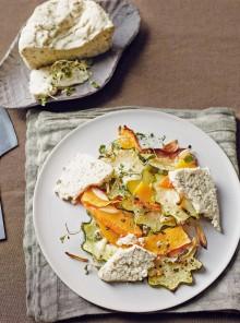 Zucca arrostita all'aglio con formaggio di semi