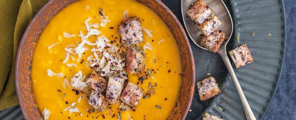 zuppa di riso e zucca con crostini Sale&Pepe ricetta