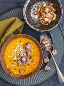 Zuppa di riso e zucca con crostini e za'atar