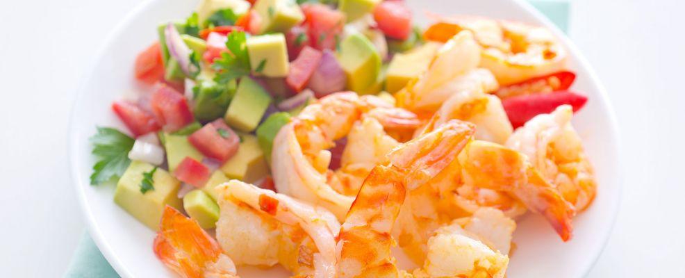 Gamberi aglio e olio con vinagrete all'avocado Sale&Pepe