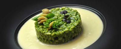 riso in verde con lupini di mare al forno  e salsa al Riesling