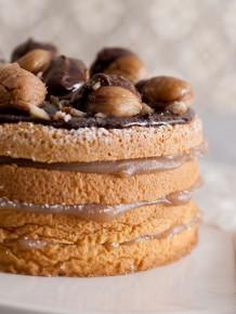 torta farcita con castagne e cioccolato