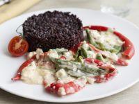 Riso-nero-peperoni-peperoncino-crema-formaggio ricetta Sale&Pepe