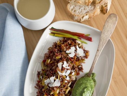 Riso rosso Ermes con olive di Cerignola e costine colorate ricetta Sale&Pepe