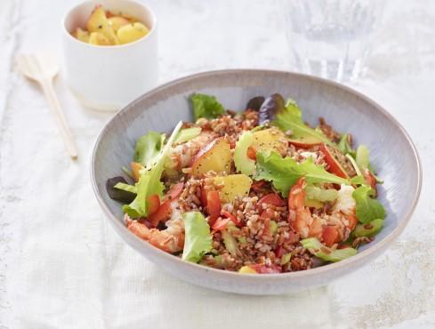 Riso rosso con gamberoni, sedano e pesche ricetta Sale&Pepe