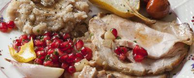 Arrosto di vitello con pere e foie gras con salsa al porto