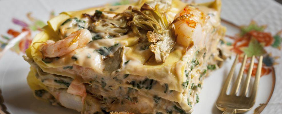 Lasagne con gamberi e carciofi