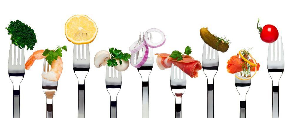 forchette con vari alimenti grafica