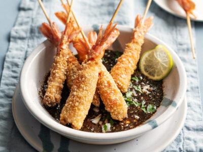 Gamberoni ai fiocchi di quinoa