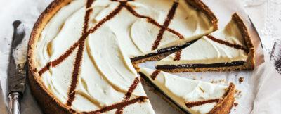 Crostata con ganache al caffè e crema alla ricotta