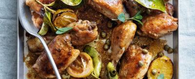 Pollo al forno con capperi, limoni e menta